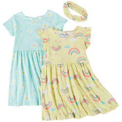 Freestyle Little Girls 2-pk. Rainbow Daisy Dress Set