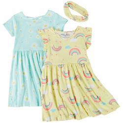 Little Girls 2-pk. Rainbow Daisy Dress Set