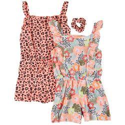 Freestyle Little Girls 2-pk. Leopard Romper Set