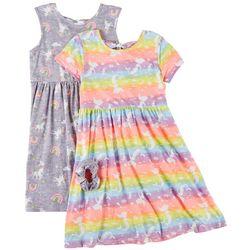 Freestyle Big Girls 2-pk. Unicorn Rainbow Dress Set