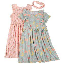 Freestyle Big Girls 2-pk. Butterfly Floral Dress Set