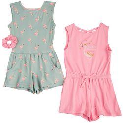 Freestyle Little Girls 2-pk. Flamingo Romper Set
