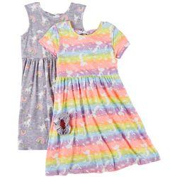 Freestyle Little Girls 2-pk. Unicorn Rainbow Dress Set
