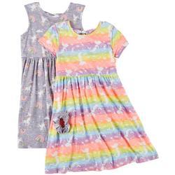 Little Girls 2-pk. Unicorn Rainbow Dress Set