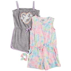 Freestyle Little Girls 2-pk. Tie Dye Unicorn Romper Set