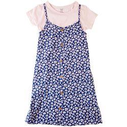 Sweet Butterfly Big Girls 2-pc. Floral Button Dress Set