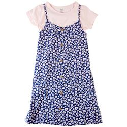 Big Girls 2-pc. Floral Button Dress Set
