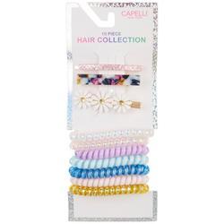 10-pc. Coil Hair Tie & Clips Set