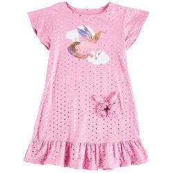 Little Girls Unicorn Dots Sleep Gown
