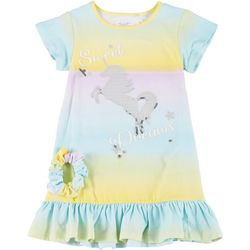 Young Hearts Little Girls 2-Pc. Unicorn PJ Gown & Scrunchie