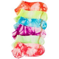 Girls 6-pk. Tie Dye Flat Knit Liner Socks