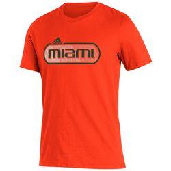 Adidas Mens Miami Hurricanes Short Sleeve T-Shirt