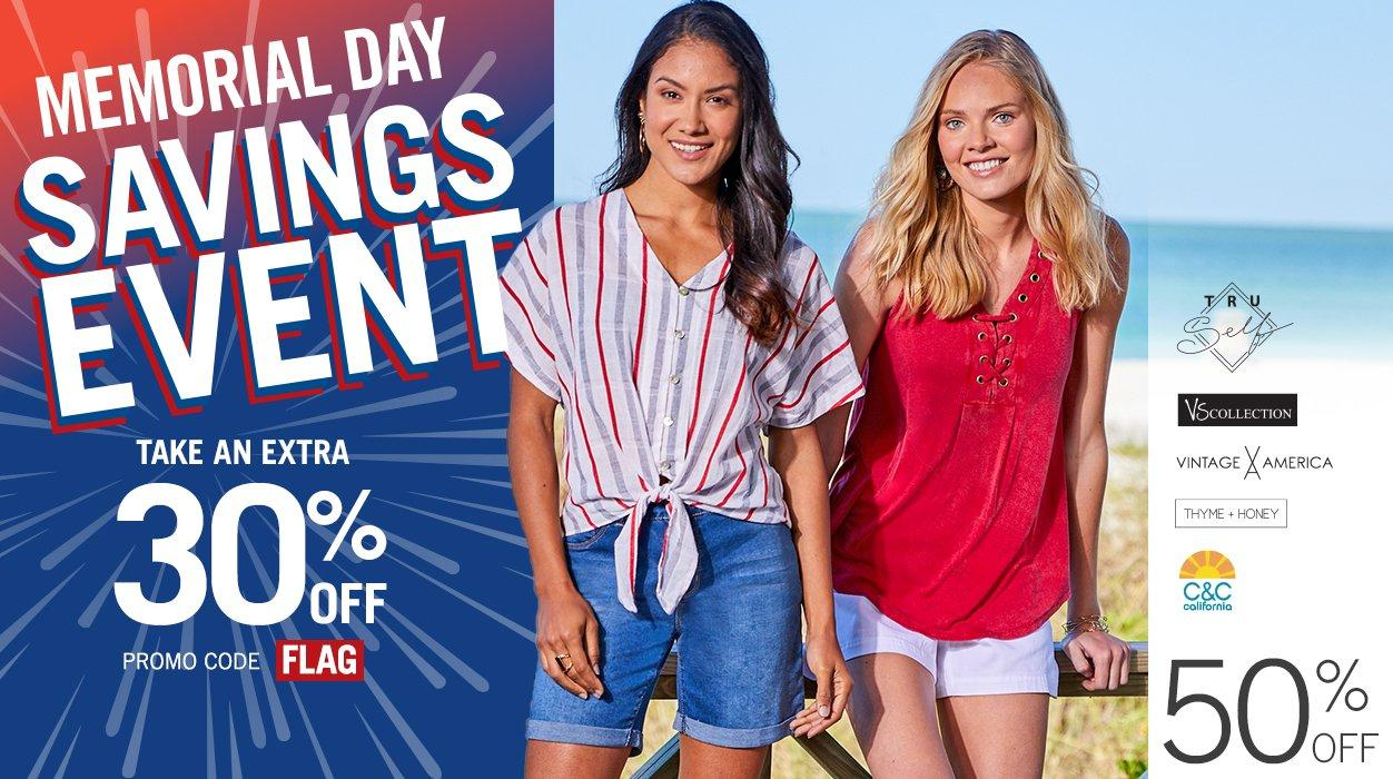 Memorial Day Savings Event - Extra 30% Off - Promo Code FLAG - Featuring 50% Off Women's Fashion Apparel from Tru Self, VS Collection, Vintage America, Thyme + Honey and C&C California