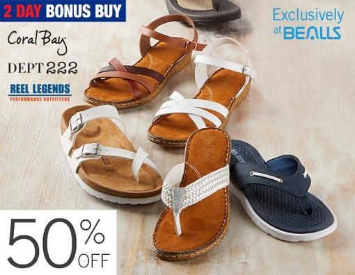 50% off Select Sandals from Coral Bay, Dept 222 & Reel Legends