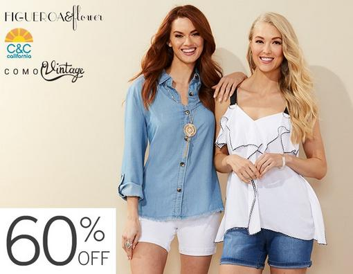 60% Off Fashion Apparel from Figueroa & Flower, C&C California and Como Vintage