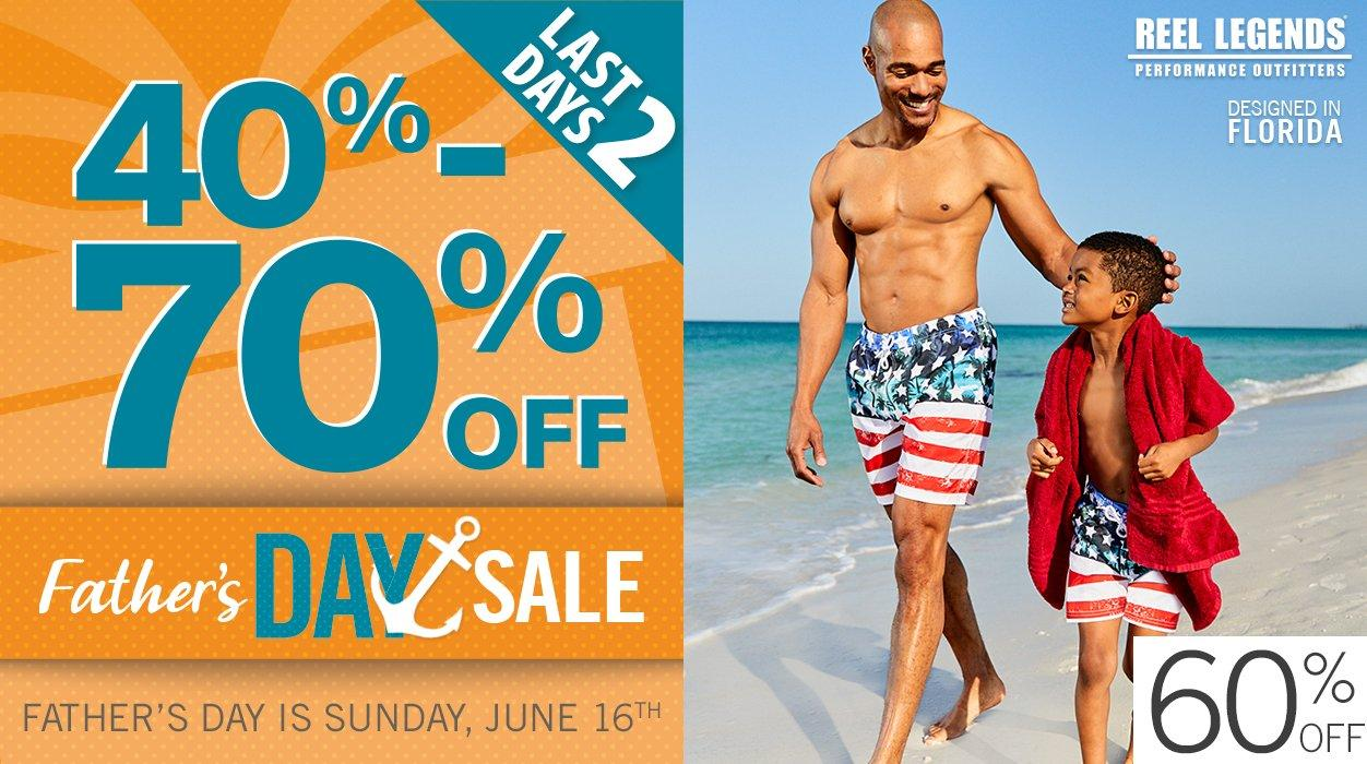 Last 2 Days - 40-70% Off Father's Day Sale featuring 60% Off Reel Legends Swimwear for Men & Boys | Father's Day is Sunday, June 16th