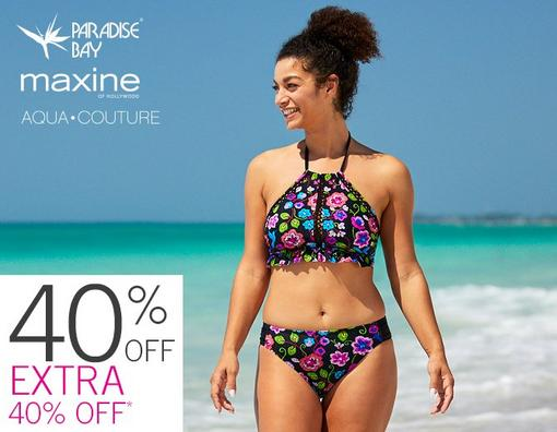 40% Off + Extra 40% Off* Swimwear from Paradise Bay, Maxine of Hollywood and Aqua Couture