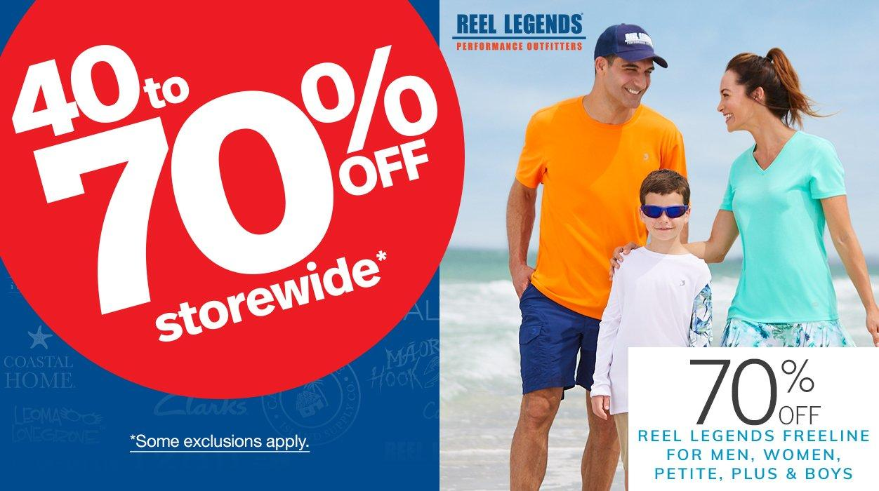 40 to 70% Off Storewide* featuring 70% Off Reel Legends Freeline for Men, Women, Petite, Plus & Boys | *Some exclusions apply.