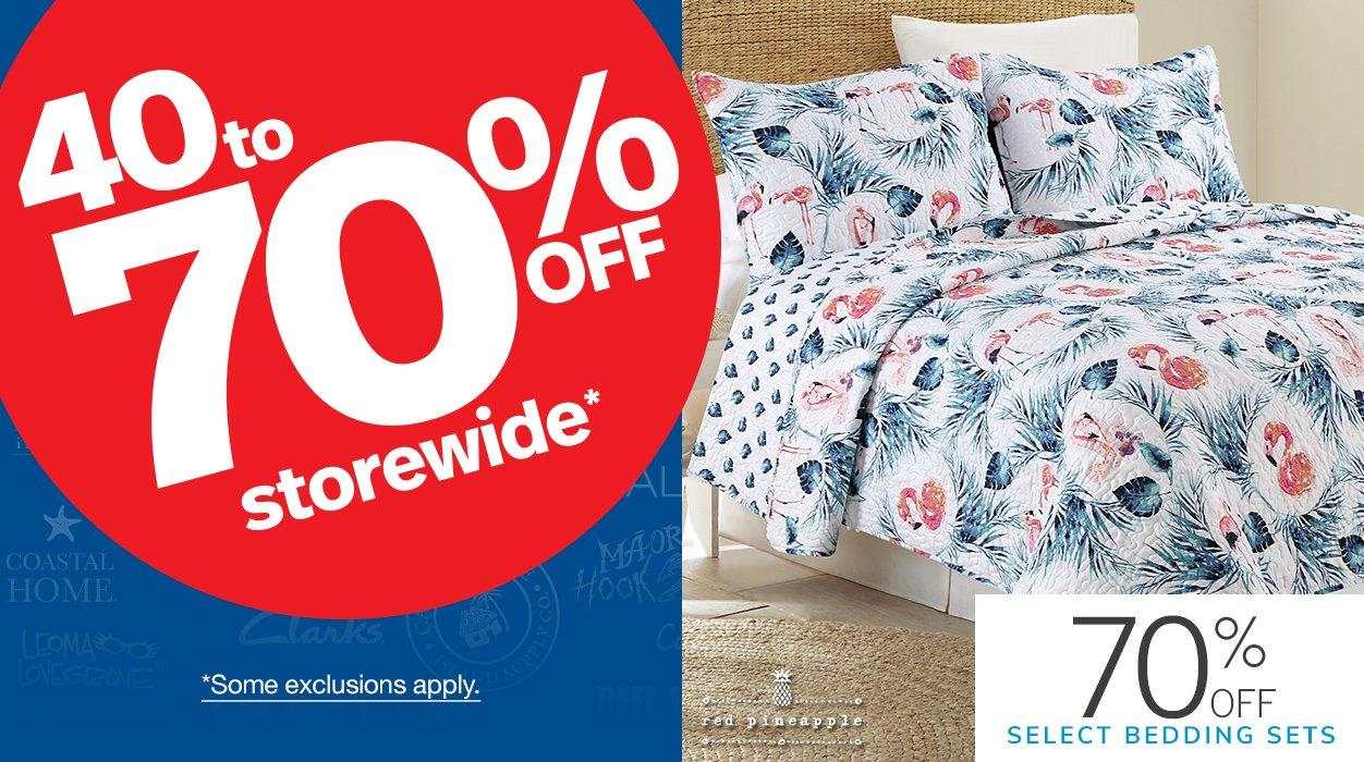 40 to 70% Off Storewide* featuring 70% Off Select Bedding Sets | *Some exclusions apply.