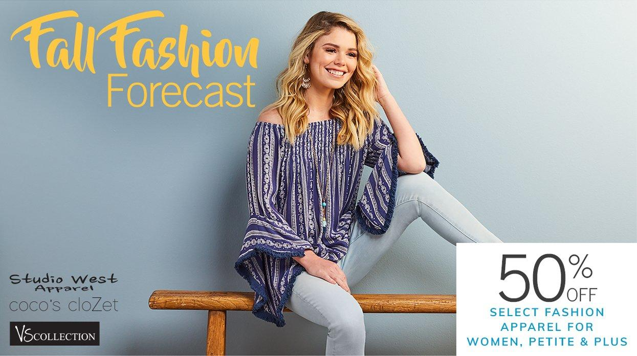 Fall Fashion Forecast featuring 50% Off Select Fashion Apparel for Women, Petite & Plus | Studio West Apparel | Coco's CloZet | VS Collection