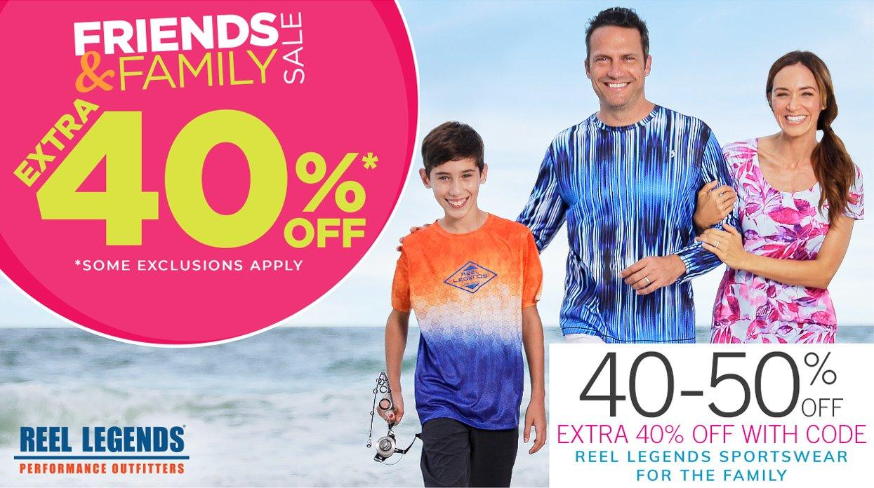Friends & Family Sale - Extra 40% Off* | *Some Exclusions Apply | Shop 40-50% Off Reel Legends Sportswear for the Family - Extra 40% Off with Code