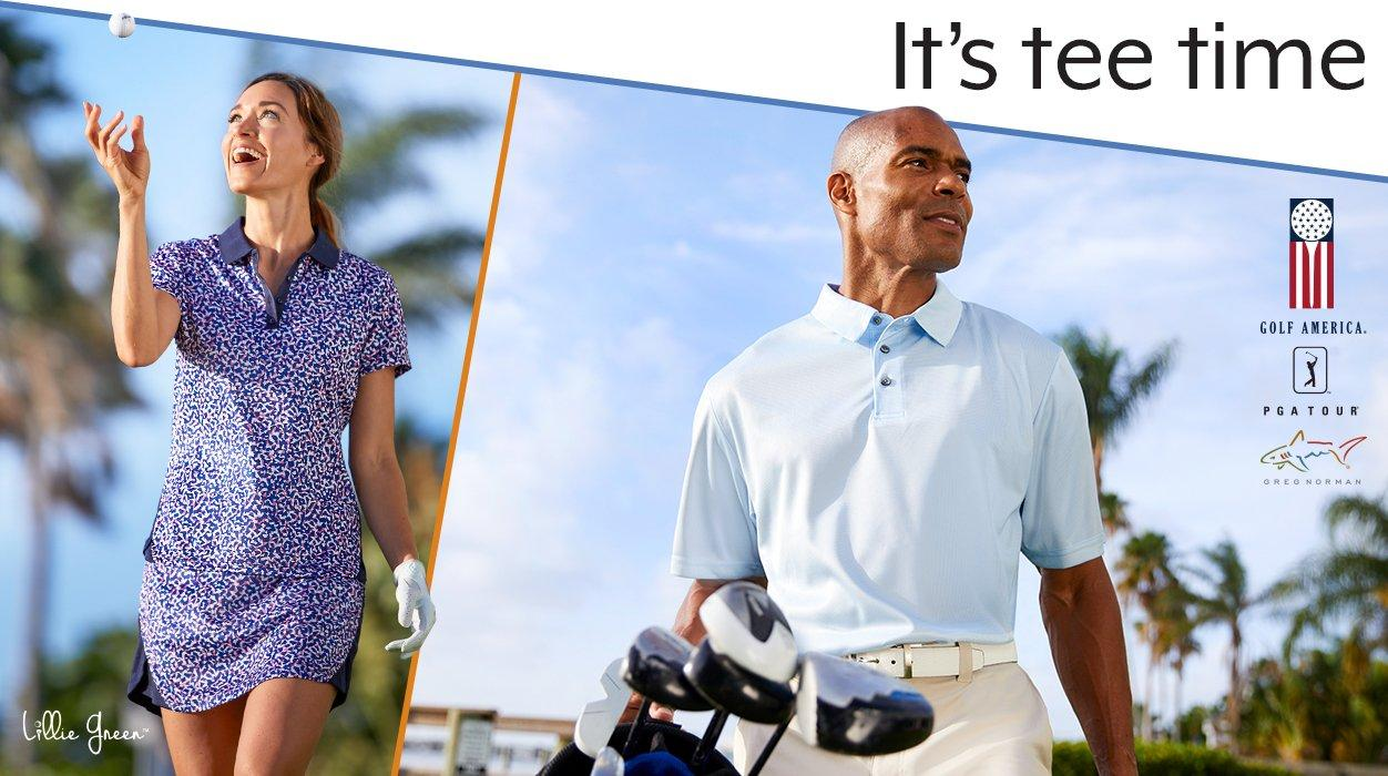 It's tee time - Shop Golf Apparel featuring Lillie Green, Golf America, PGA TOUR & Greg Norman