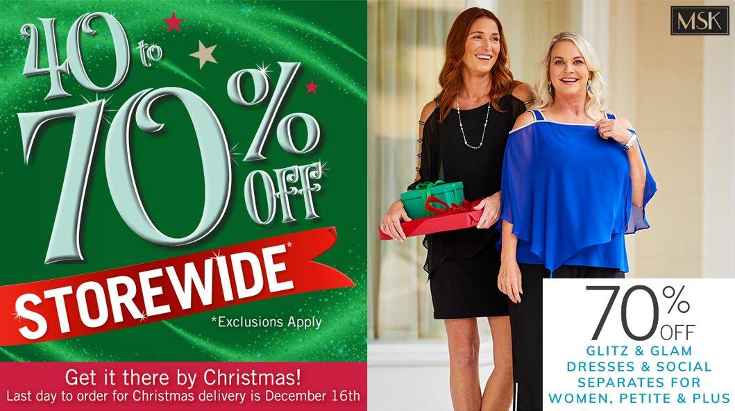 40-70% Off Storewide* featuring 70% Off Glitz & Glam Dresses & Social Separates for Women, Petite & Plus* | *Exclusions Apply - Get it there by Christmas! Last day to order for Christmas delivery is December 16th