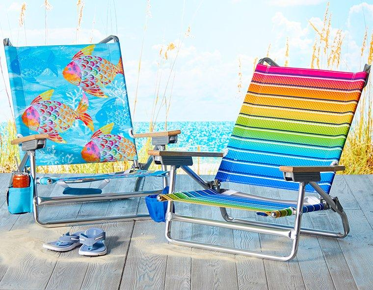 Multi color striped and Fish print blue Beach Chairs