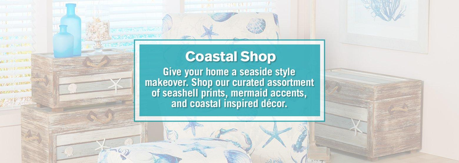 Coastal Shop - Give your home a seaside style makeover. Shop our curated assortment of seashell prints, mermaid accents, and coastal inspired decor.