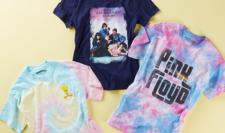 Tie dye, Breakfast Club and Pink Floyd graphic tees