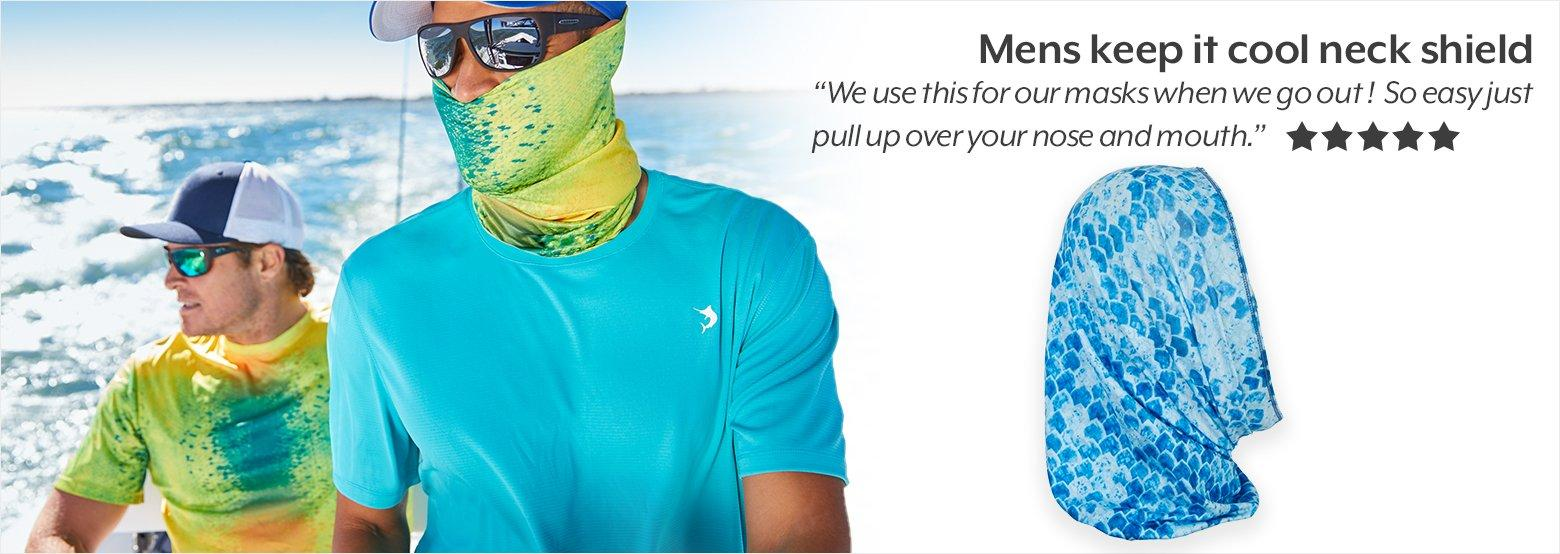 Mens keep it cool neck shield - 5 star review - ''We use this for our masks when we go out! So easy just pull up over your nose and mouth.''