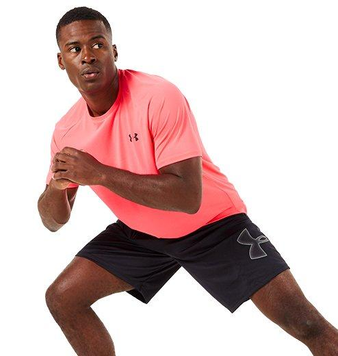 Men in Athletic training shorts and tshirt