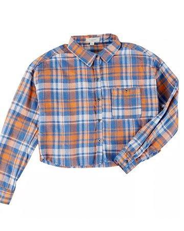 Juniors Plaid Cropped Shirt