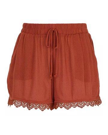 Be Free Crochet Hemline Terracotta Shorts