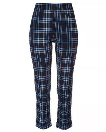 Plaid Black/Blue Capris Pants