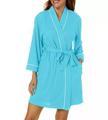Waffle Knit Kimono Pool Blue Robe