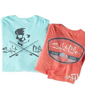 Salt Life Long Sleeve Barreled Red and Blue T-Shirt