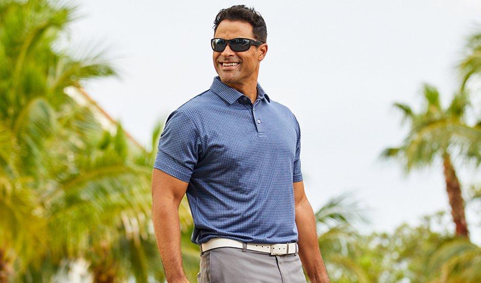 Grid Plaid Navy blue Polo Shirt