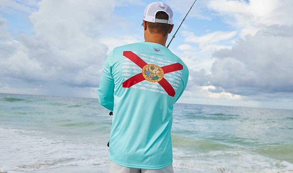 Mens PFG Fish Flag Blue T-Shirt