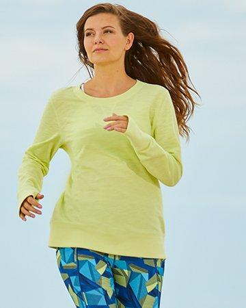 Long Sleeve Yellow Tunic and blue activewear