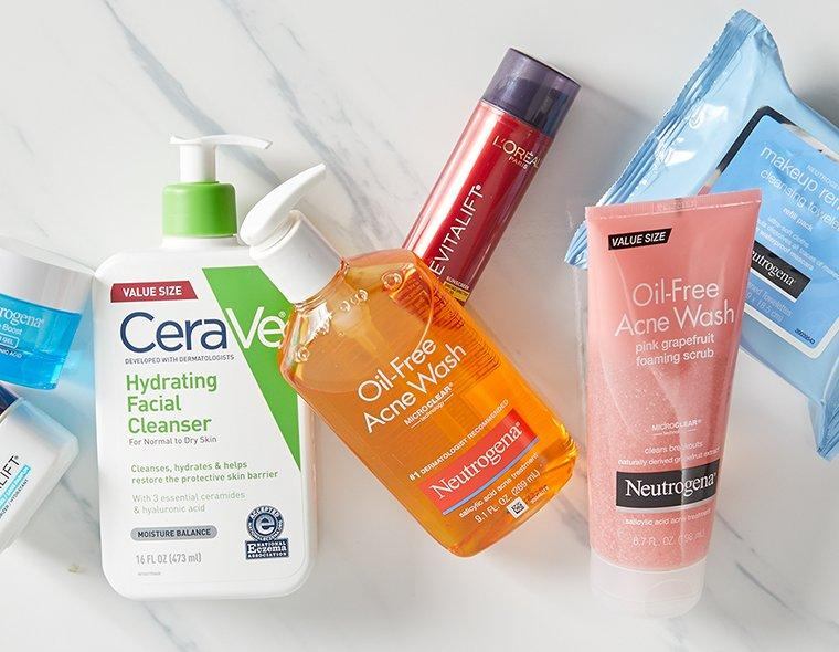 Oil-free Acne wash, Makeup remove, Cleanser and Lorea'l Anti-Aging Revitalift SPF 30 Lotion