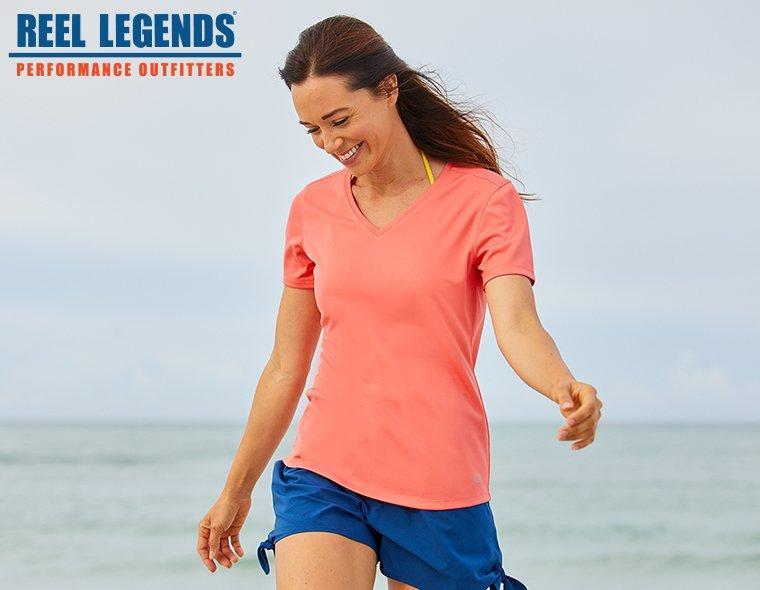 Reel Legends Freeline Solid V-Neck orange Top and blue shorts